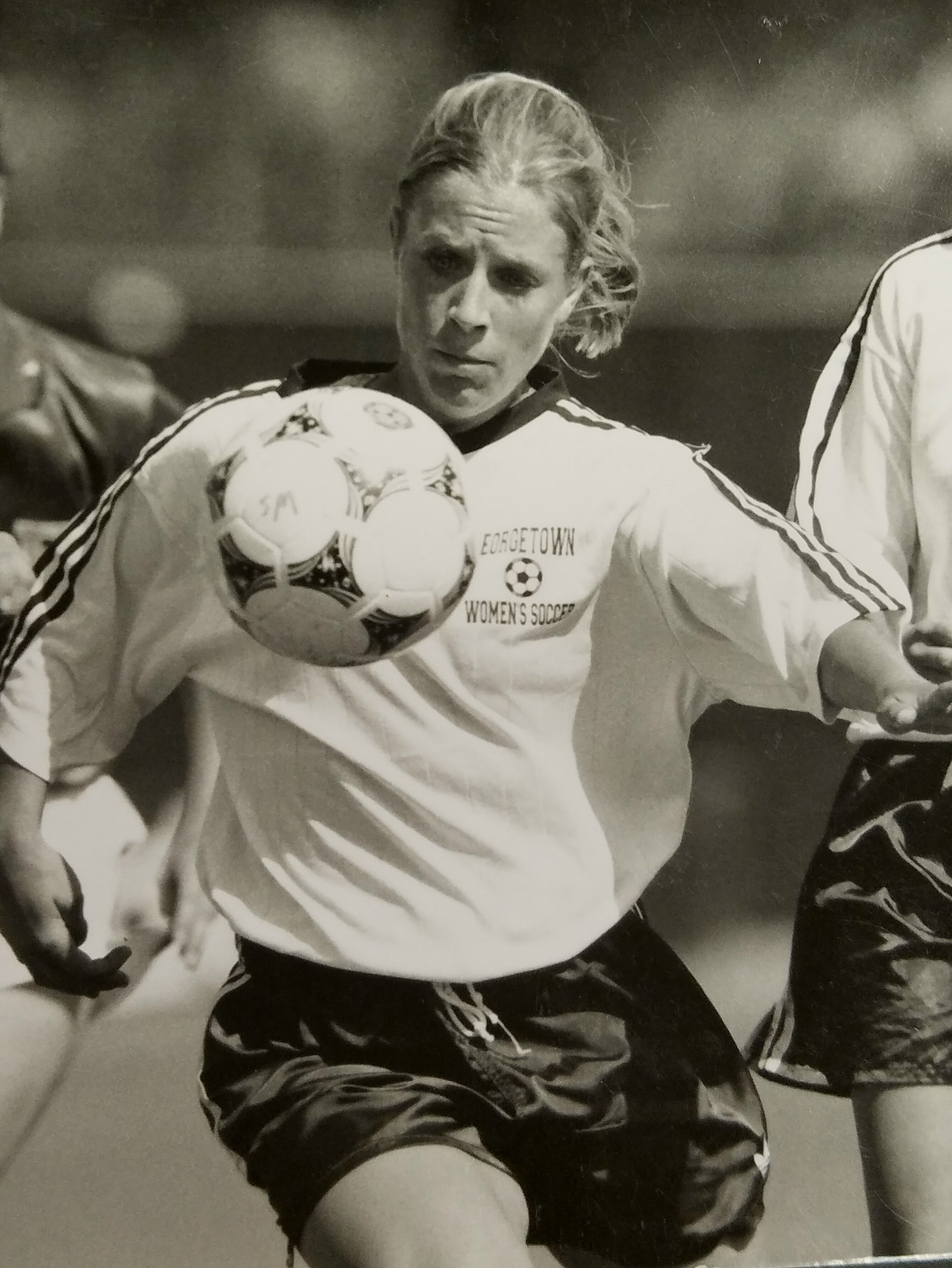 Christina Bruner, a standout striker and midfielder for the Georgetown University women's soccer team from 1994 to 1997, will be the first women's soccer player inducted into the university's Hall of Fame in February.