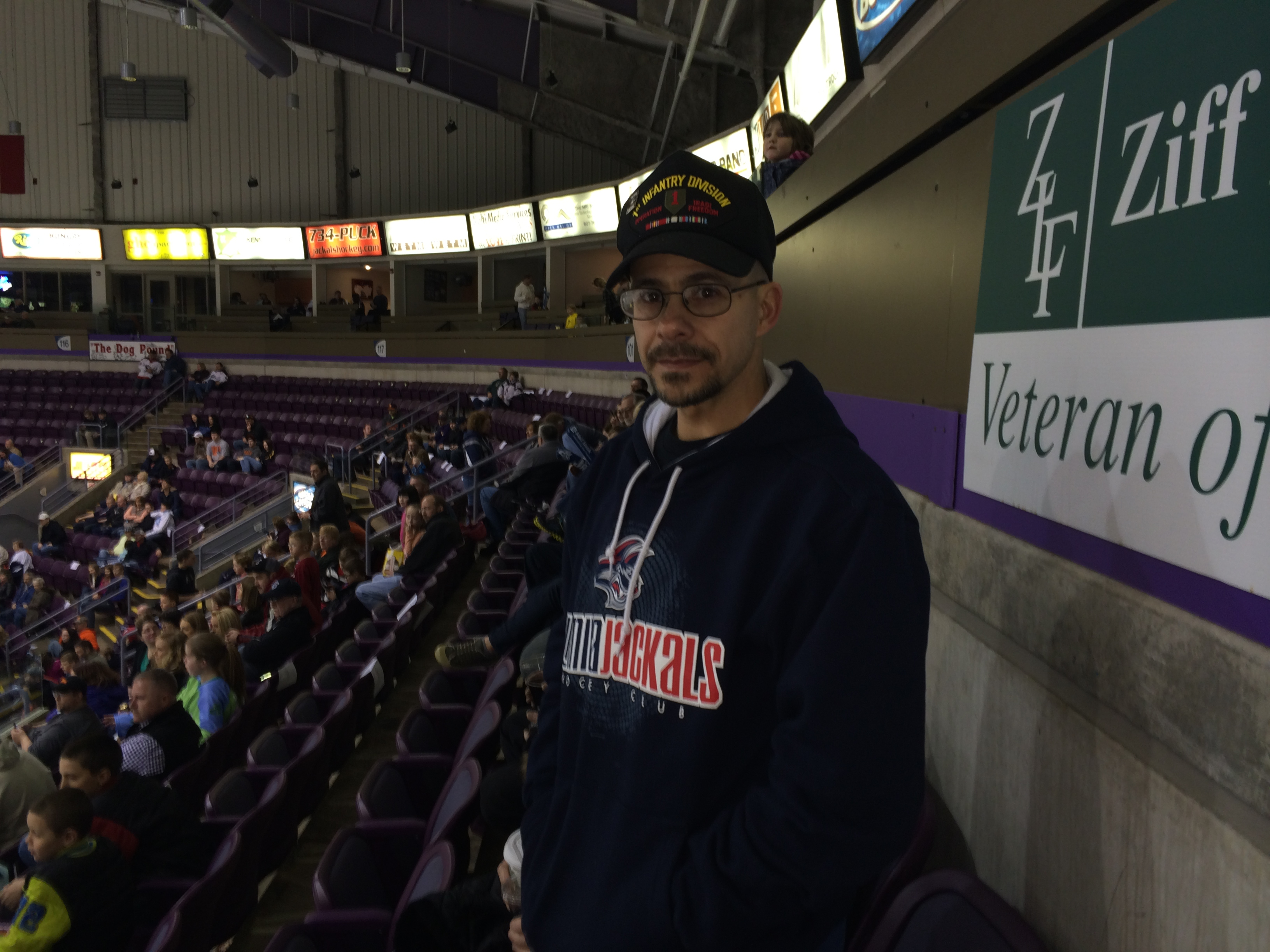 Army veteran Scott Swanson was among the more than 200 veterans honored at First Arena in Elmira during eight seasons of Elmira Jackals games.